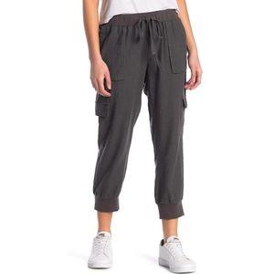 Caslon linen blend knit cargo pants joggers M gray